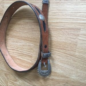 Amazing black and brown concho silver waist belt